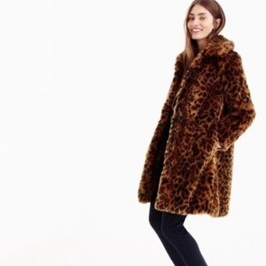 NWT j.crew  collection leopard fur coat